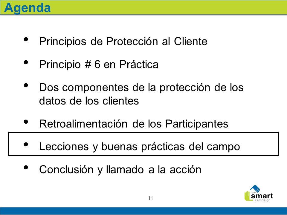 11 Principios de Protección al Cliente Principio # 6 en Práctica Dos componentes de la protección de los datos de los clientes Retroalimentación de los Participantes Lecciones y buenas prácticas del campo Conclusión y llamado a la acción Agenda