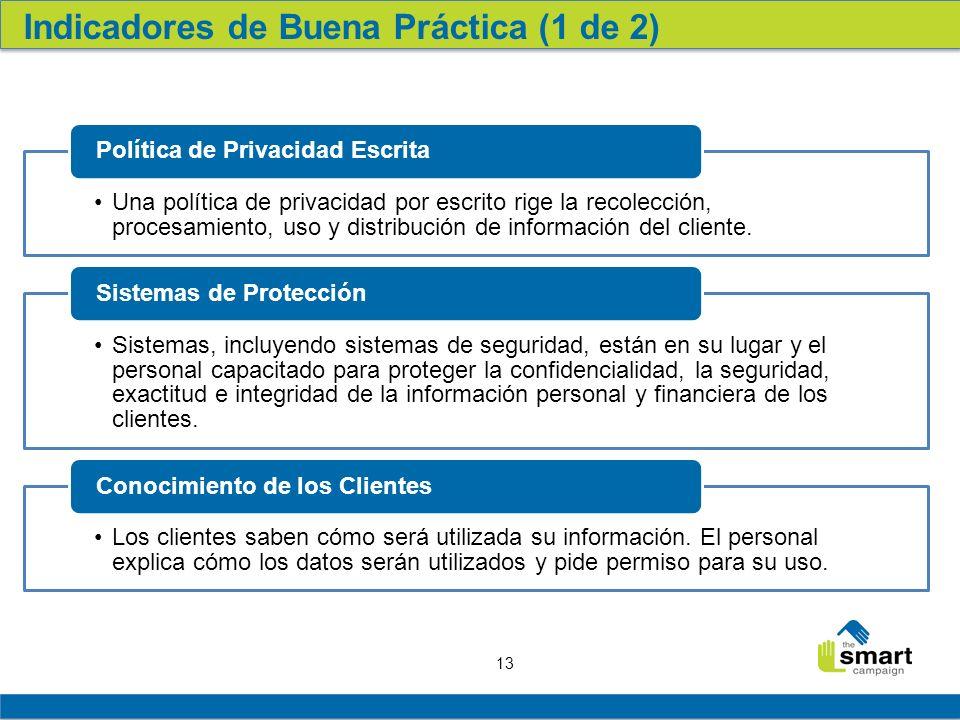 13 Una política de privacidad por escrito rige la recolección, procesamiento, uso y distribución de información del cliente.