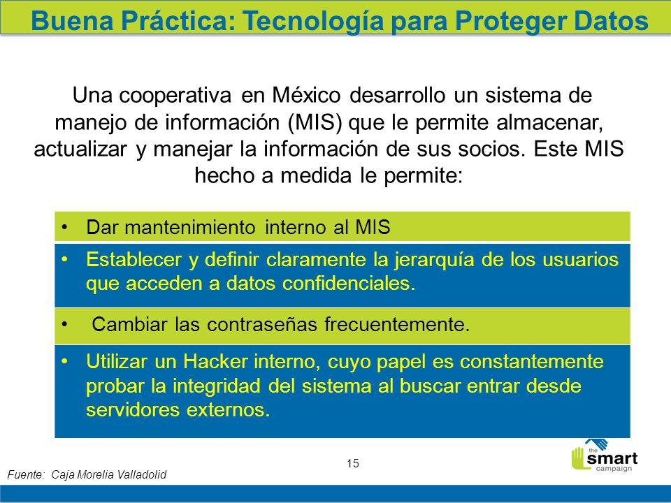 15 Buena Práctica: Tecnología para Proteger Datos Una cooperativa en México desarrollo un sistema de manejo de información (MIS) que le permite almacenar, actualizar y manejar la información de sus socios.