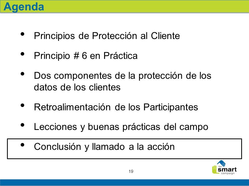 19 Principios de Protección al Cliente Principio # 6 en Práctica Dos componentes de la protección de los datos de los clientes Retroalimentación de los Participantes Lecciones y buenas prácticas del campo Conclusión y llamado a la acción Agenda