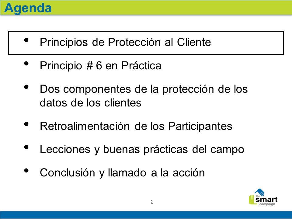 2 Principios de Protección al Cliente Principio # 6 en Práctica Dos componentes de la protección de los datos de los clientes Retroalimentación de los Participantes Lecciones y buenas prácticas del campo Conclusión y llamado a la acción Agenda