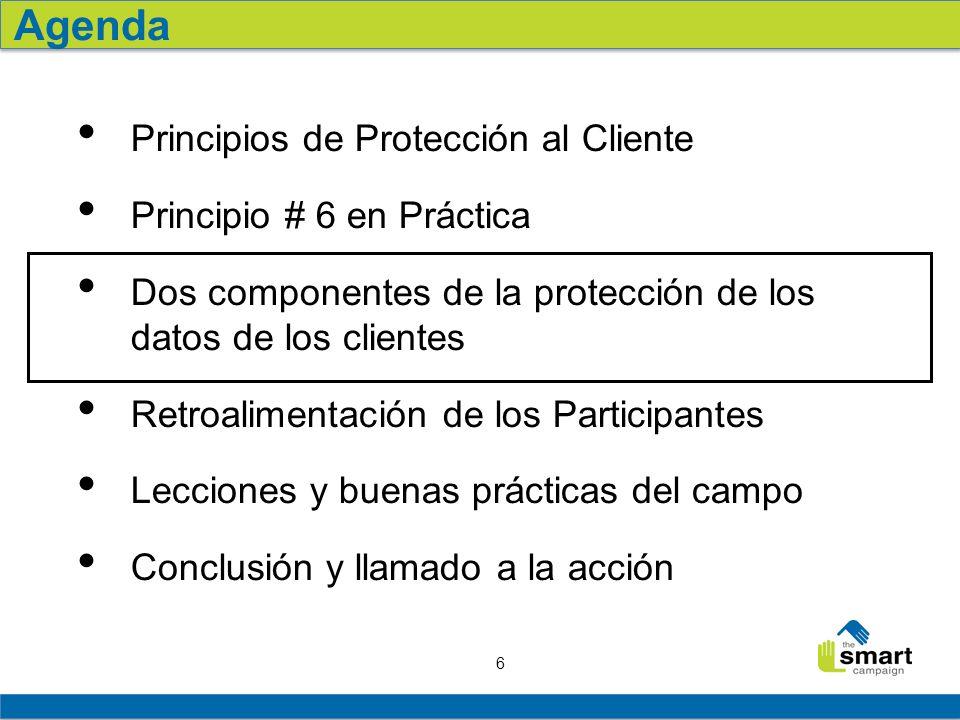 6 Principios de Protección al Cliente Principio # 6 en Práctica Dos componentes de la protección de los datos de los clientes Retroalimentación de los Participantes Lecciones y buenas prácticas del campo Conclusión y llamado a la acción Agenda