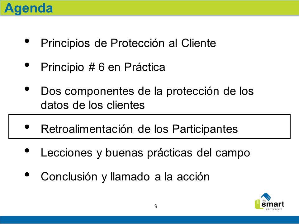 9 Principios de Protección al Cliente Principio # 6 en Práctica Dos componentes de la protección de los datos de los clientes Retroalimentación de los Participantes Lecciones y buenas prácticas del campo Conclusión y llamado a la acción Agenda