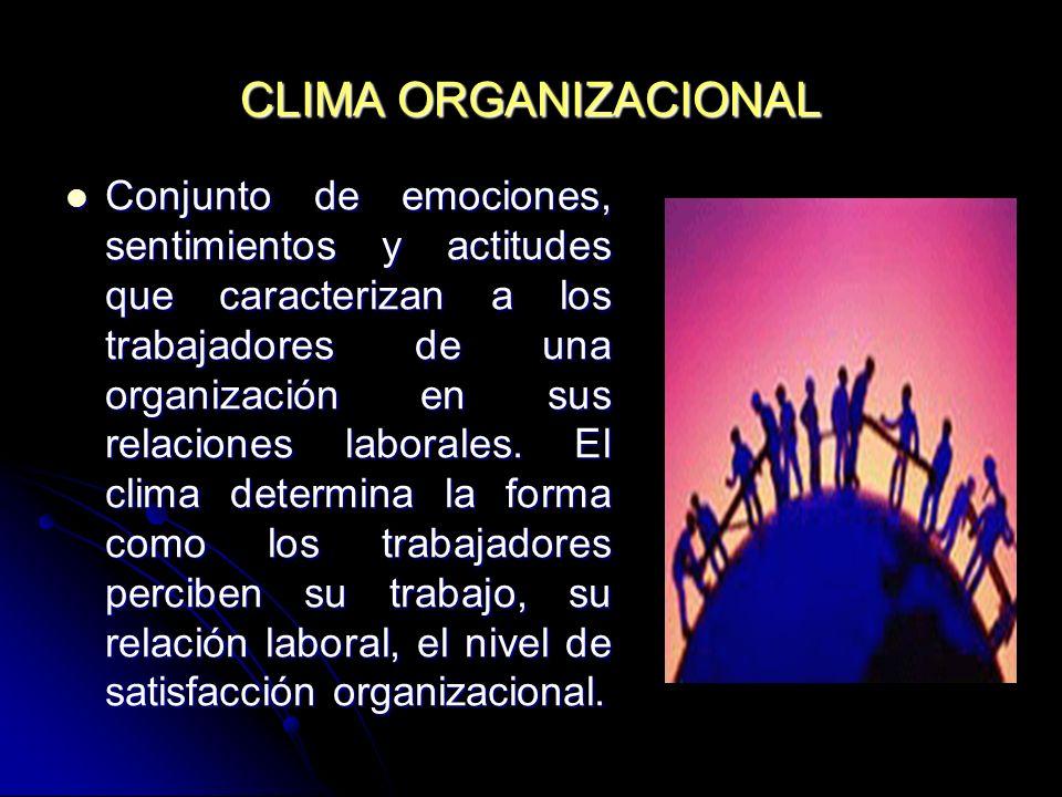 CLIMA ORGANIZACIONAL Conjunto de emociones, sentimientos y actitudes que caracterizan a los trabajadores de una organización en sus relaciones laboral