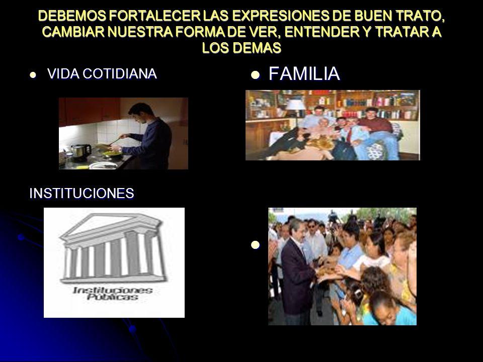 DEBEMOS FORTALECER LAS EXPRESIONES DE BUEN TRATO, CAMBIAR NUESTRA FORMA DE VER, ENTENDER Y TRATAR A LOS DEMAS VIDA COTIDIANA VIDA COTIDIANAINSTITUCION