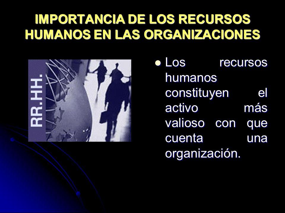 IMPORTANCIA DE LOS RECURSOS HUMANOS EN LAS ORGANIZACIONES Los recursos humanos constituyen el activo más valioso con que cuenta una organización. Los