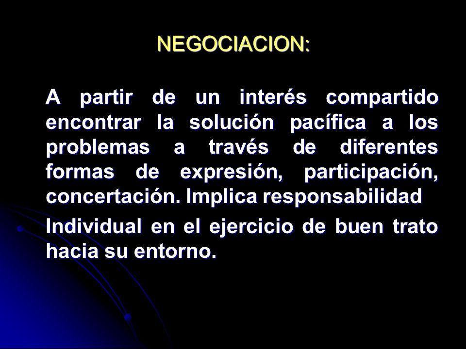 NEGOCIACION: A partir de un interés compartido encontrar la solución pacífica a los problemas a través de diferentes formas de expresión, participació