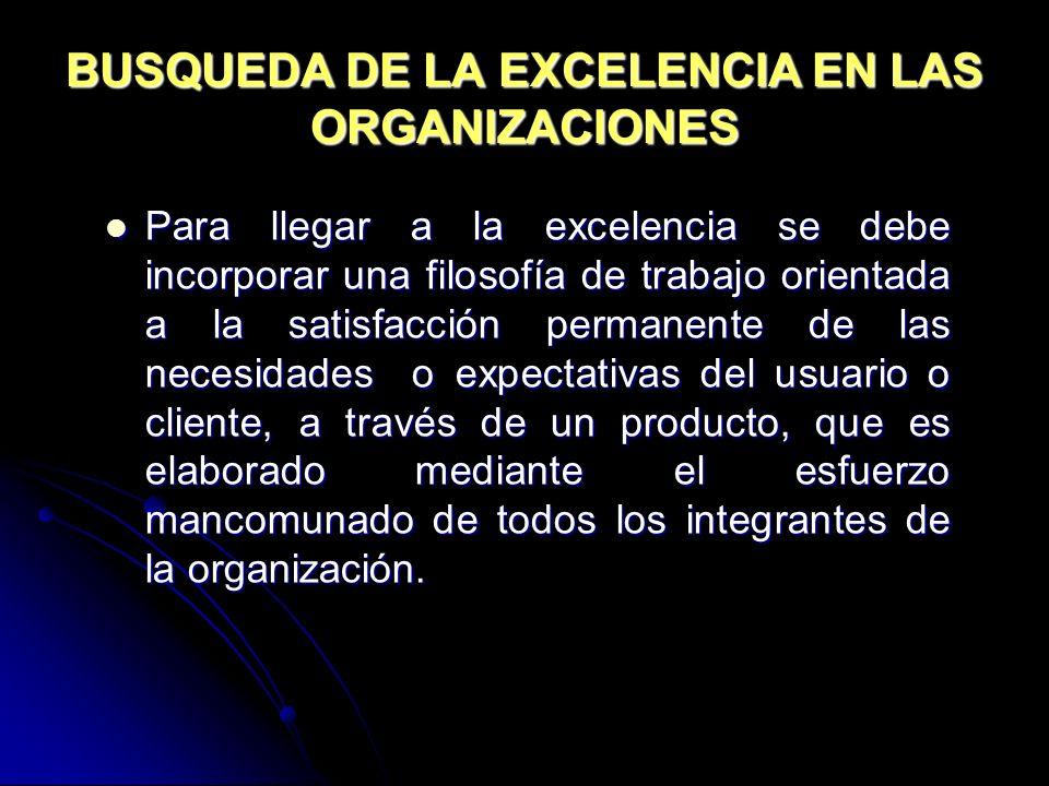 BUSQUEDA DE LA EXCELENCIA EN LAS ORGANIZACIONES Para llegar a la excelencia se debe incorporar una filosofía de trabajo orientada a la satisfacción pe