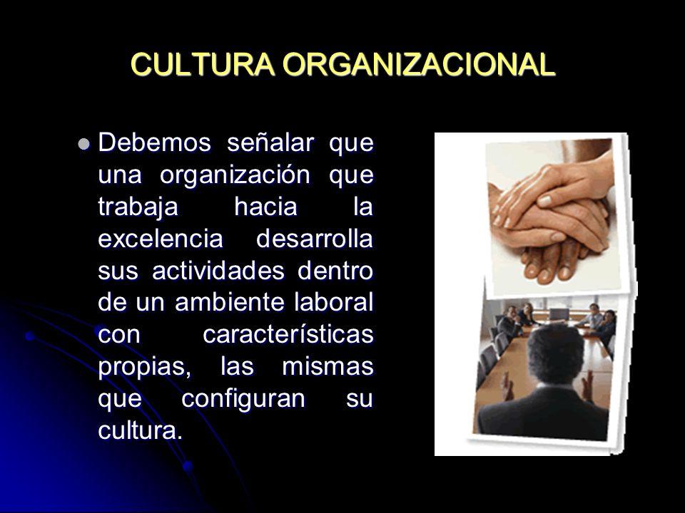 CULTURA ORGANIZACIONAL Debemos señalar que una organización que trabaja hacia la excelencia desarrolla sus actividades dentro de un ambiente laboral c