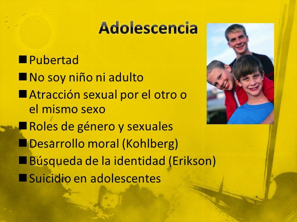Pubertad No soy niño ni adulto Atracción sexual por el otro o el mismo sexo Roles de género y sexuales Desarrollo moral (Kohlberg) Búsqueda de la iden