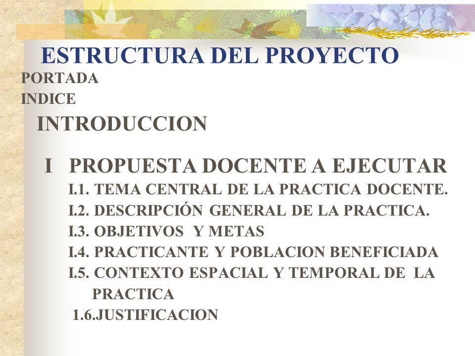 ESTRUCTURA DEL PROYECTO PORTADA INDICE INTRODUCCION I PROPUESTA DOCENTE A EJECUTAR I.1.