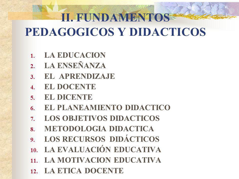 II.FUNDAMENTOS PEDAGOGICOS Y DIDACTICOS 1. LA EDUCACION 2.