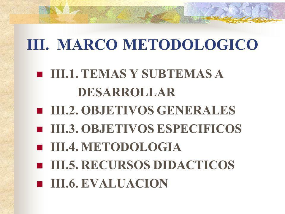 III.MARCO METODOLOGICO III.1. TEMAS Y SUBTEMAS A DESARROLLAR III.2.