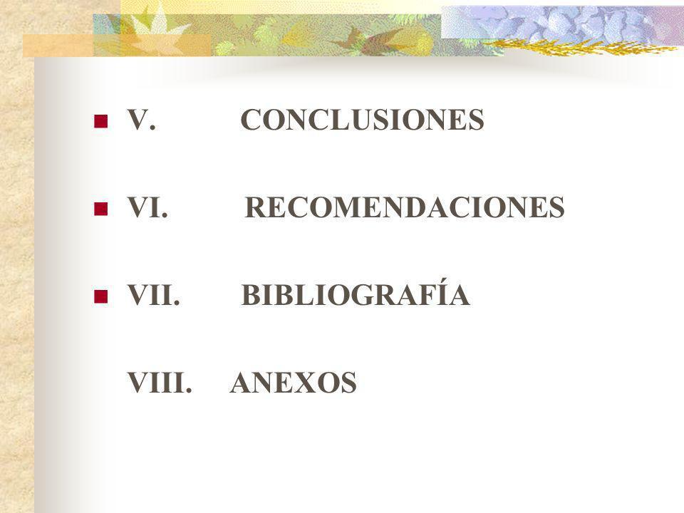 V. CONCLUSIONES VI. RECOMENDACIONES VII. BIBLIOGRAFÍA VIII.ANEXOS