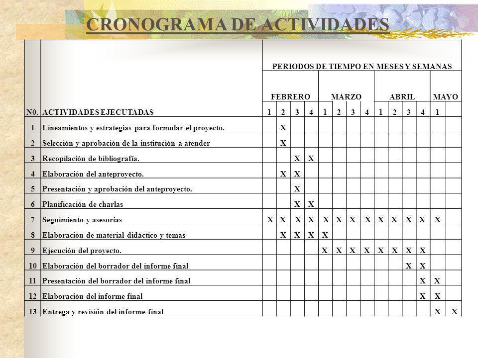 N0.ACTIVIDADES EJECUTADAS PERIODOS DE TIEMPO EN MESES Y SEMANAS FEBREROMARZOABRILMAYO 1234123412341 1Lineamientos y estrategias para formular el proyecto.