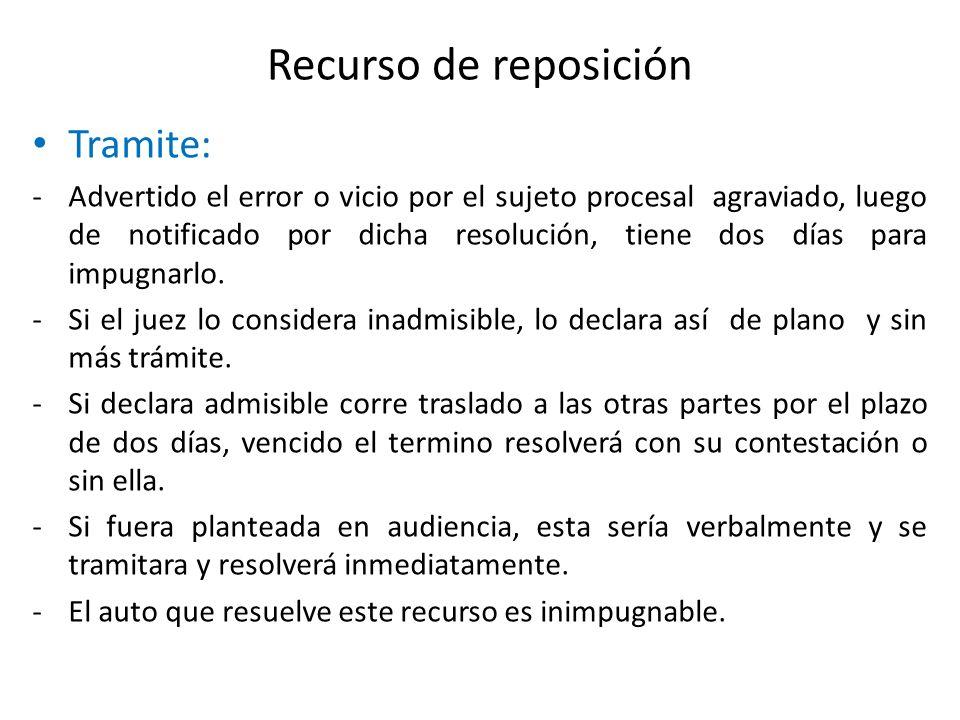 Recurso de reposición Tramite: -Advertido el error o vicio por el sujeto procesal agraviado, luego de notificado por dicha resolución, tiene dos días