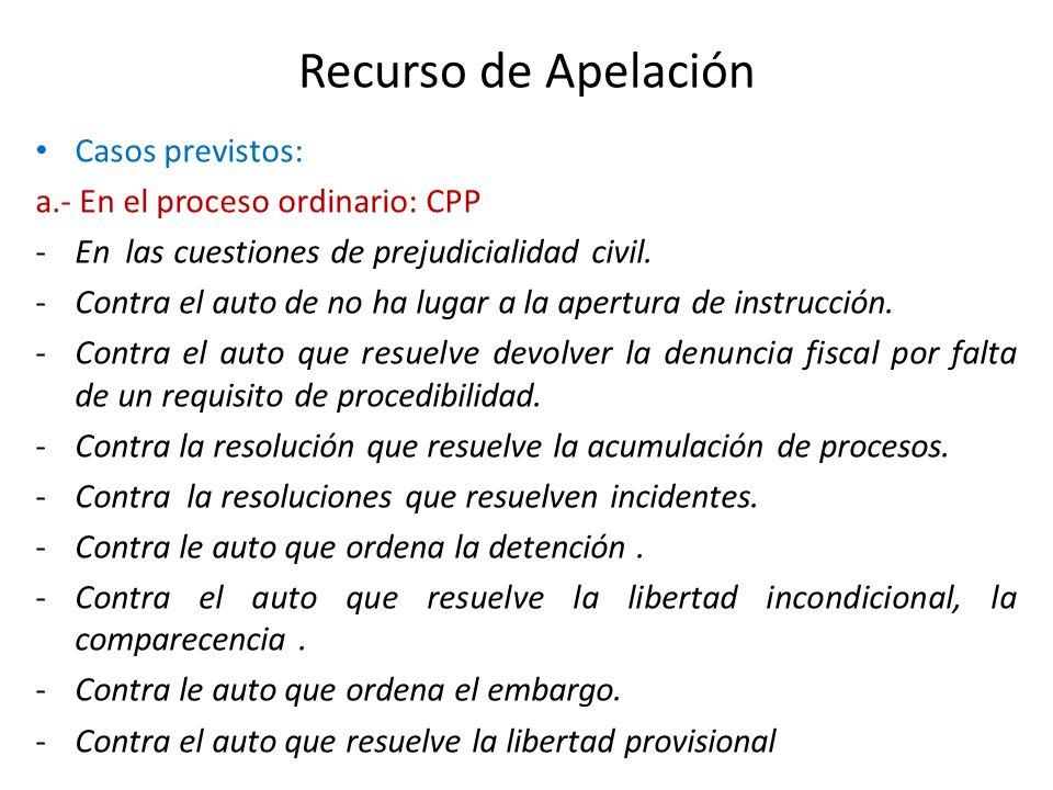 Recurso de Apelación Casos previstos: a.- En el proceso ordinario: CPP -En las cuestiones de prejudicialidad civil. -Contra el auto de no ha lugar a l