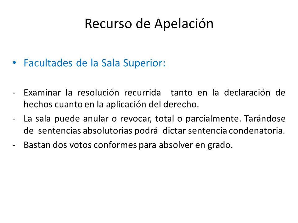 Recurso de Apelación Facultades de la Sala Superior: -Examinar la resolución recurrida tanto en la declaración de hechos cuanto en la aplicación del d