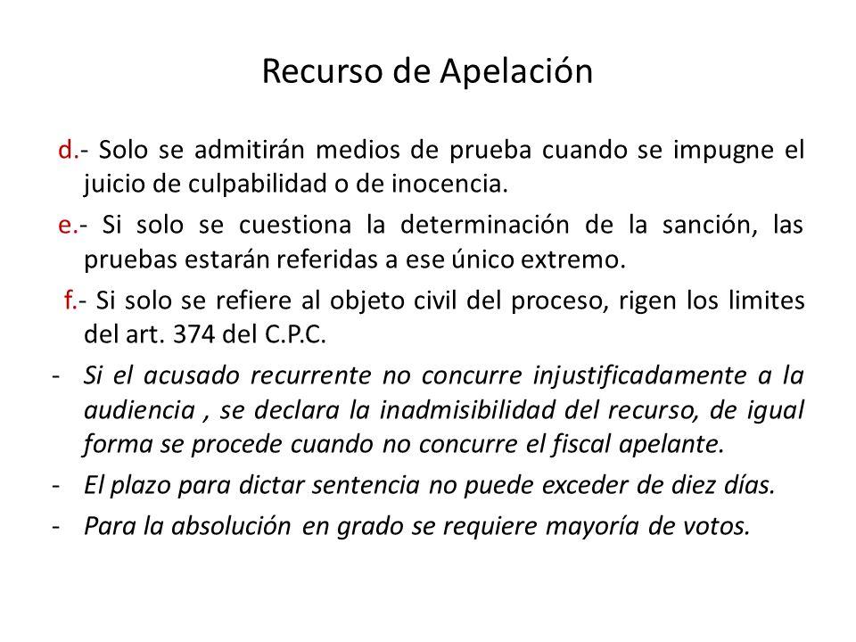 Recurso de Apelación d.- Solo se admitirán medios de prueba cuando se impugne el juicio de culpabilidad o de inocencia. e.- Si solo se cuestiona la de