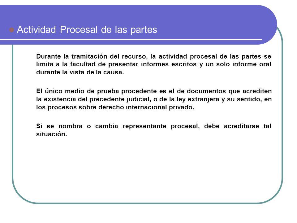 Durante la tramitación del recurso, la actividad procesal de las partes se limita a la facultad de presentar informes escritos y un solo informe oral