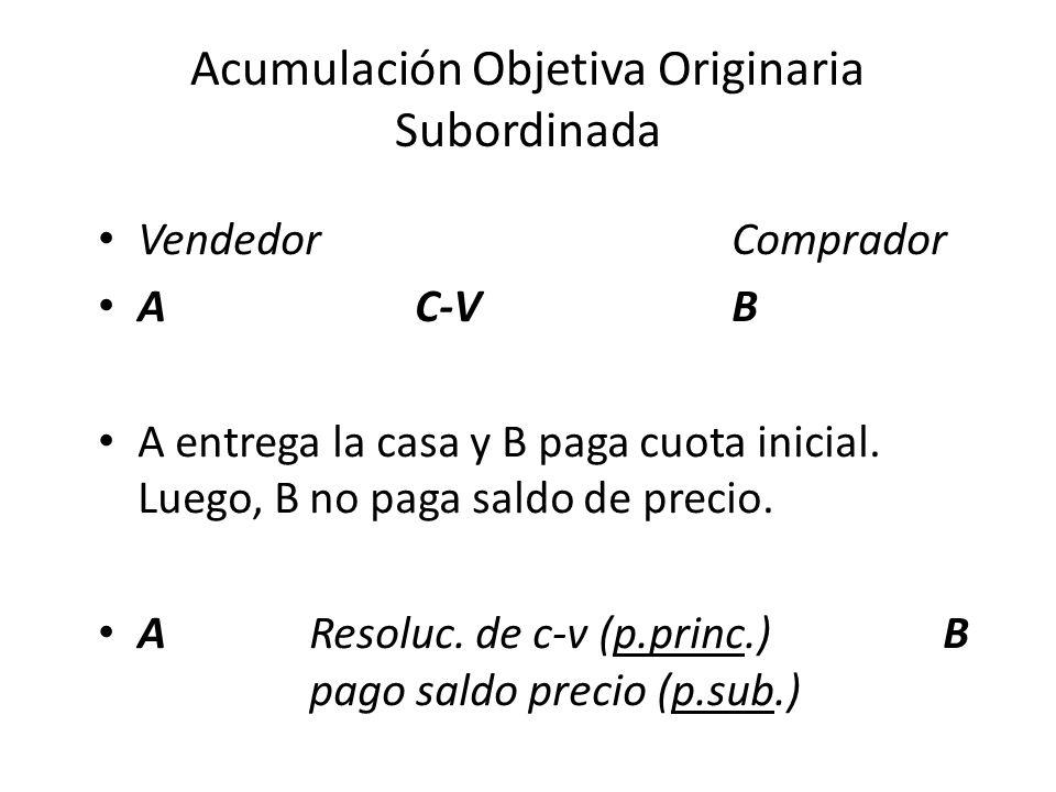 Acumulación Objetiva Originaria Alternativa VendedorComprador Ac-v B A entrega la casa y B paga cuota inicial.
