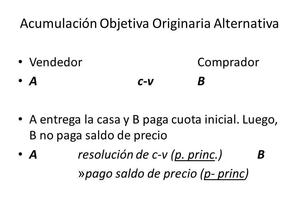 Acumulación Objetiva Originaria Accesoria VendedorComprador AC-VB A entrega la casa y B paga cuota inicial.