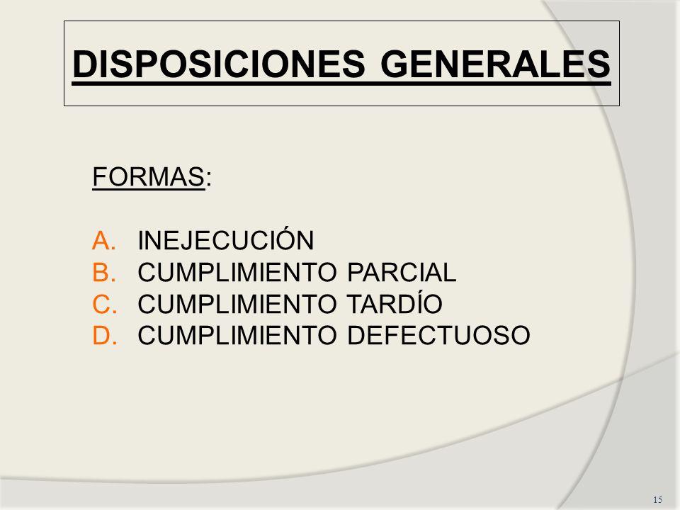 DISPOSICIONES GENERALES 15 FORMAS: A.INEJECUCIÓN B.CUMPLIMIENTO PARCIAL C.CUMPLIMIENTO TARDÍO D.CUMPLIMIENTO DEFECTUOSO