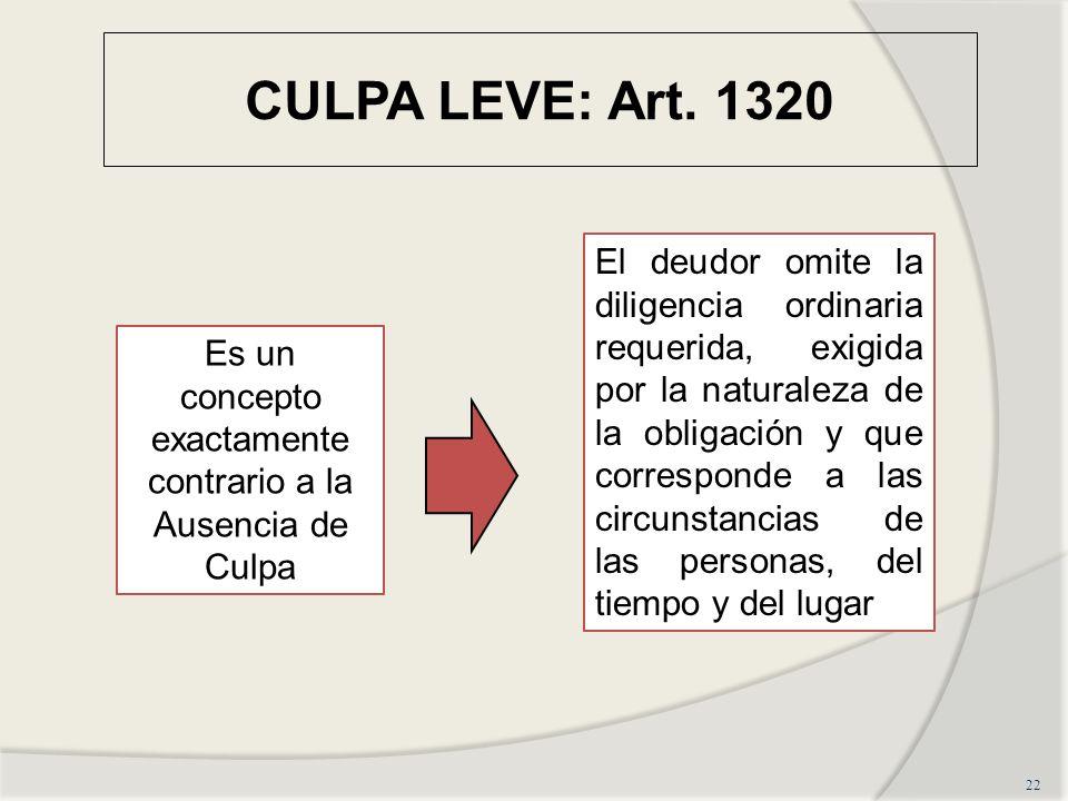CULPA LEVE: Art. 1320 22 Es un concepto exactamente contrario a la Ausencia de Culpa El deudor omite la diligencia ordinaria requerida, exigida por la