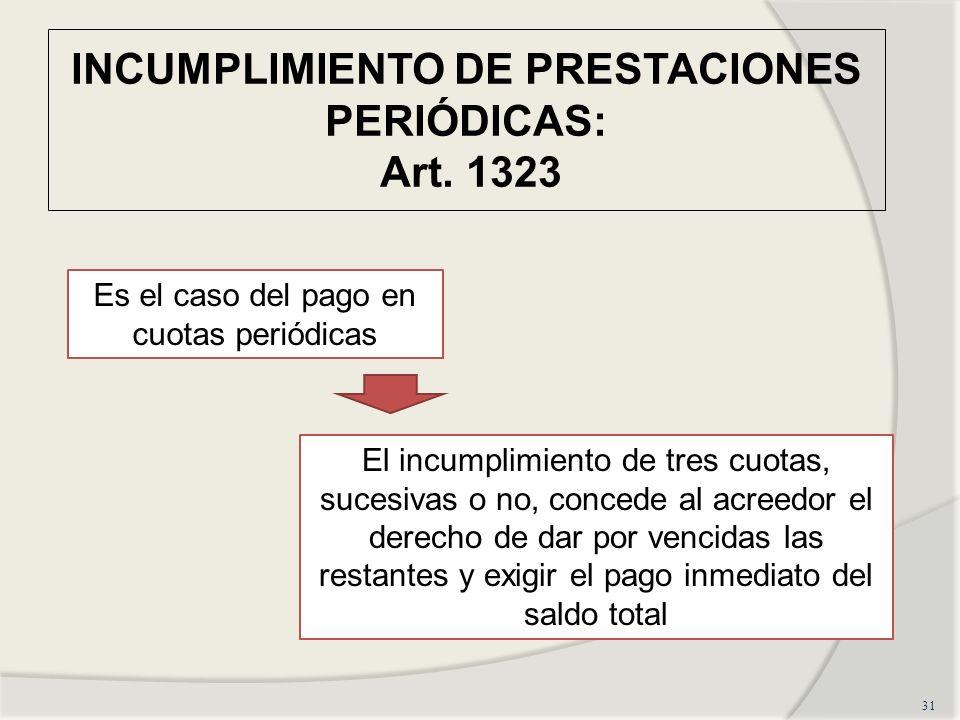 INCUMPLIMIENTO DE PRESTACIONES PERIÓDICAS: Art. 1323 31 Es el caso del pago en cuotas periódicas El incumplimiento de tres cuotas, sucesivas o no, con