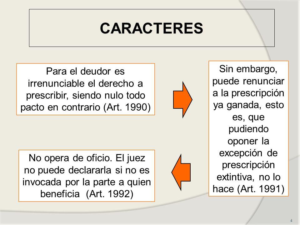 CARACTERES 4 Para el deudor es irrenunciable el derecho a prescribir, siendo nulo todo pacto en contrario (Art. 1990) Sin embargo, puede renunciar a l