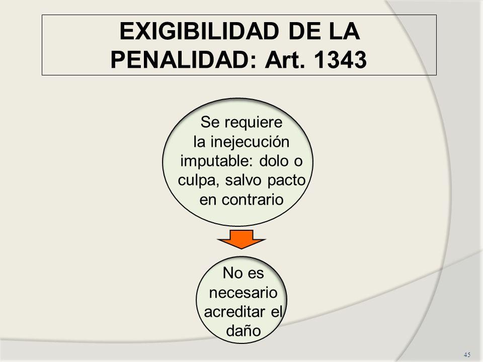 EXIGIBILIDAD DE LA PENALIDAD: Art. 1343 45 Se requiere la inejecución imputable: dolo o culpa, salvo pacto en contrario No es necesario acreditar el d