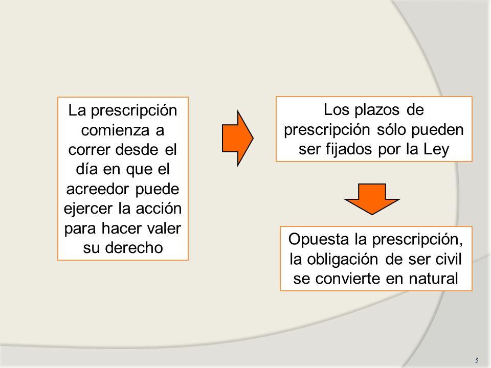 5 La prescripción comienza a correr desde el día en que el acreedor puede ejercer la acción para hacer valer su derecho Los plazos de prescripción sól