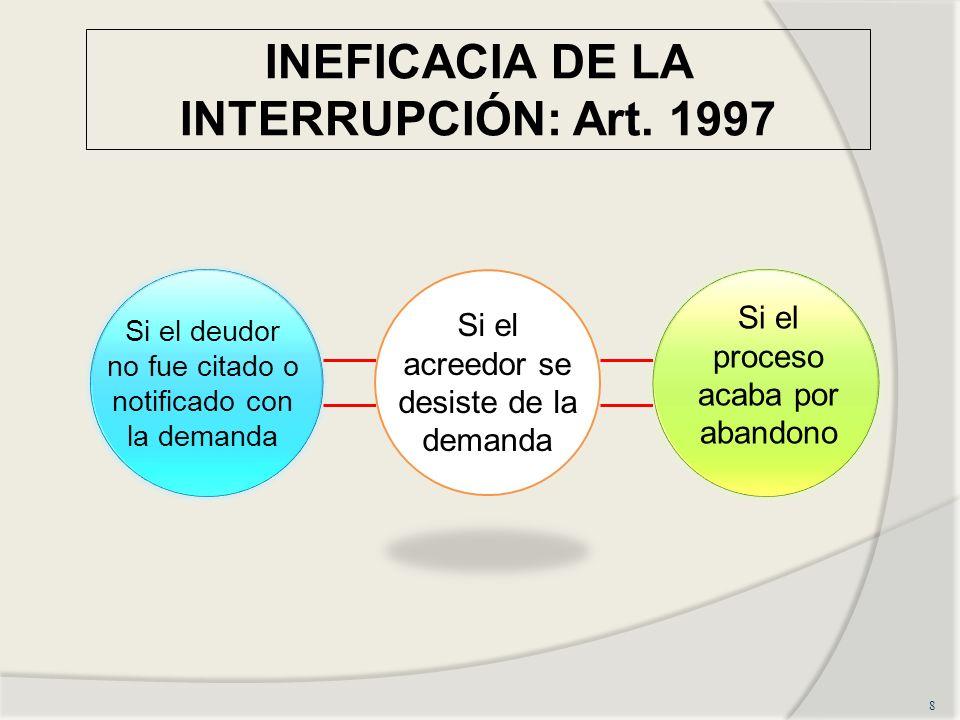 INEFICACIA DE LA INTERRUPCIÓN: Art. 1997 8 Si el deudor no fue citado o notificado con la demanda Si el acreedor se desiste de la demanda Si el proces