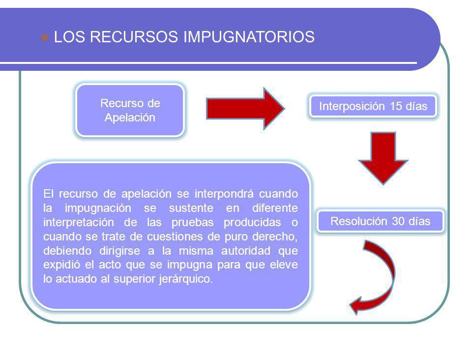 LOS RECURSOS IMPUGNATORIOS Recurso de Apelación El recurso de apelación se interpondrá cuando la impugnación se sustente en diferente interpretación d