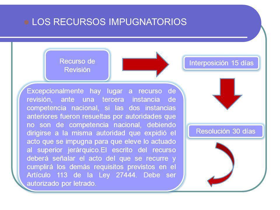LOS RECURSOS IMPUGNATORIOS Recurso de Revisión Excepcionalmente hay lugar a recurso de revisión, ante una tercera instancia de competencia nacional, s