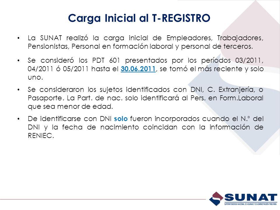 Carga Inicial al T-REGISTRO La SUNAT realizó la carga inicial de Empleadores, Trabajadores, Pensionistas, Personal en formación laboral y personal de