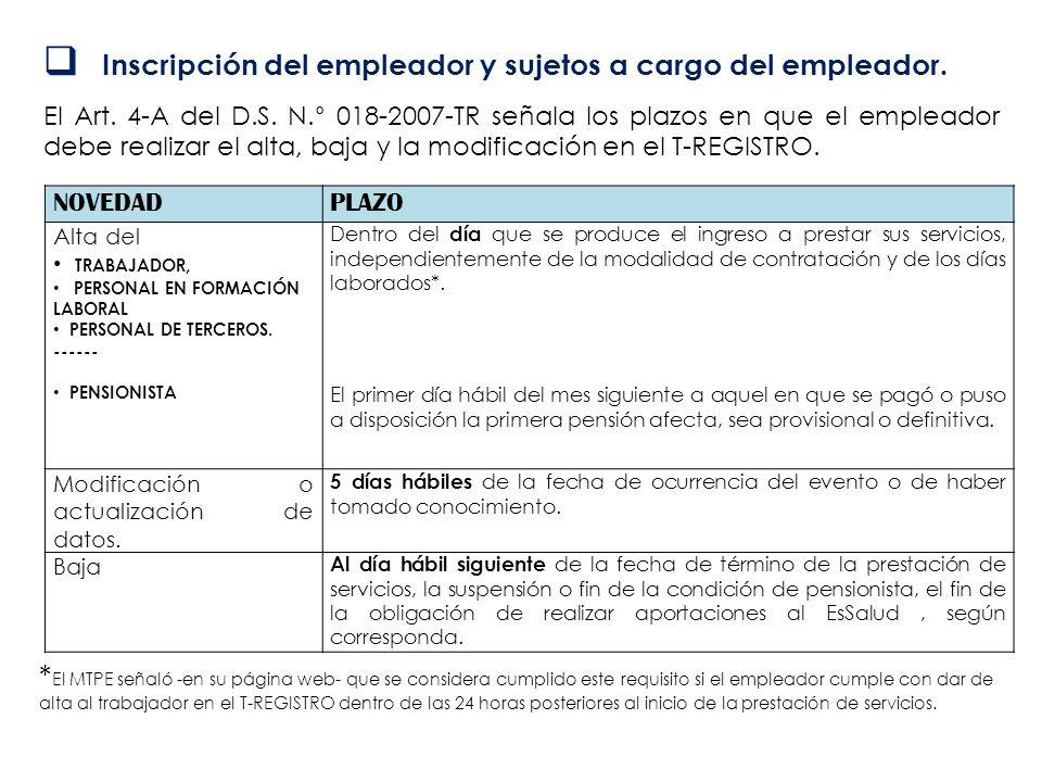 Inscripción del empleador y sujetos a cargo del empleador. El Art. 4-A del D.S. N.° 018-2007-TR señala los plazos en que el empleador debe realizar el