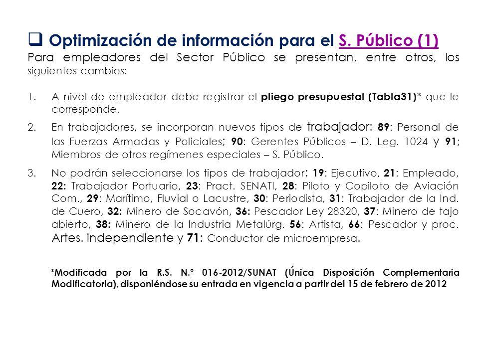 Optimización de información para el S. Público (1) Para empleadores del Sector Público se presentan, entre otros, los siguientes cambios: 1.A nivel de