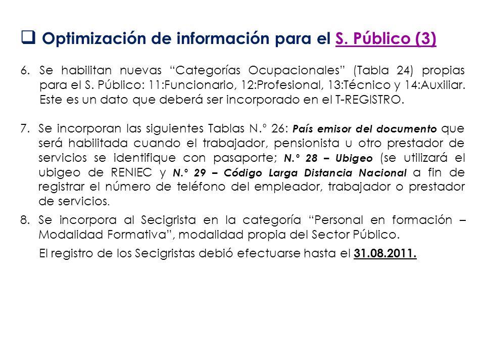 Optimización de información para el S. Público (3) 6.Se habilitan nuevas Categorías Ocupacionales (Tabla 24) propias para el S. Público: 11:Funcionari
