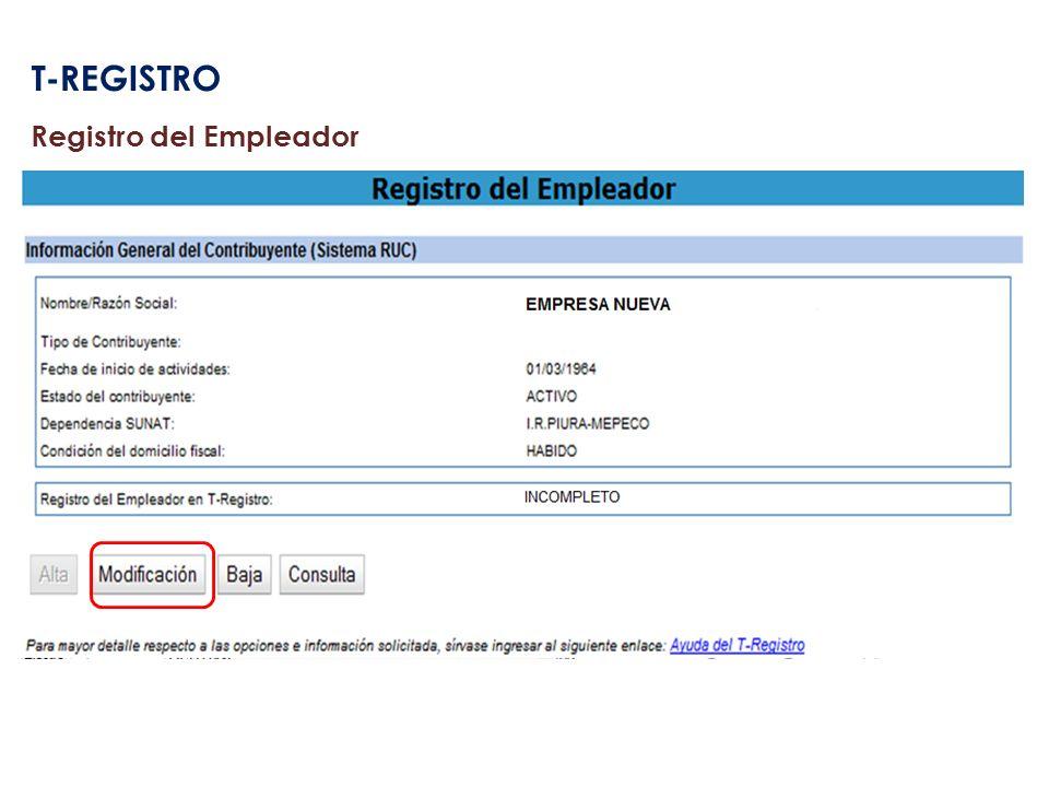 T-REGISTRO Registro del Empleador