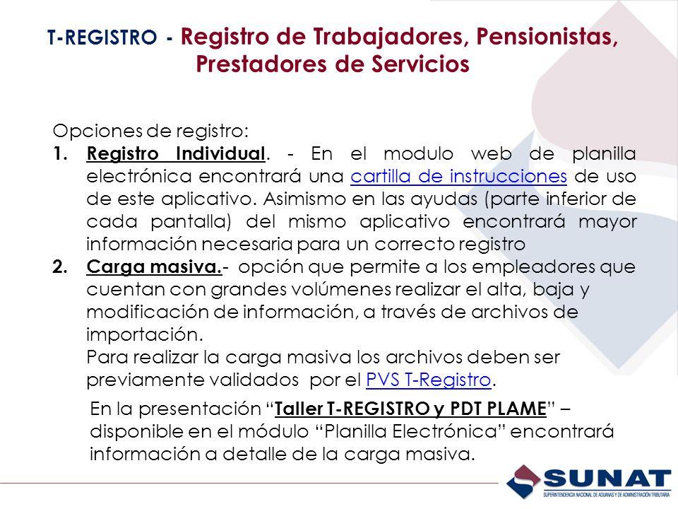 T-REGISTRO - Registro de Trabajadores, Pensionistas, Prestadores de Servicios Opciones de registro: 1. Registro Individual. - En el modulo web de plan