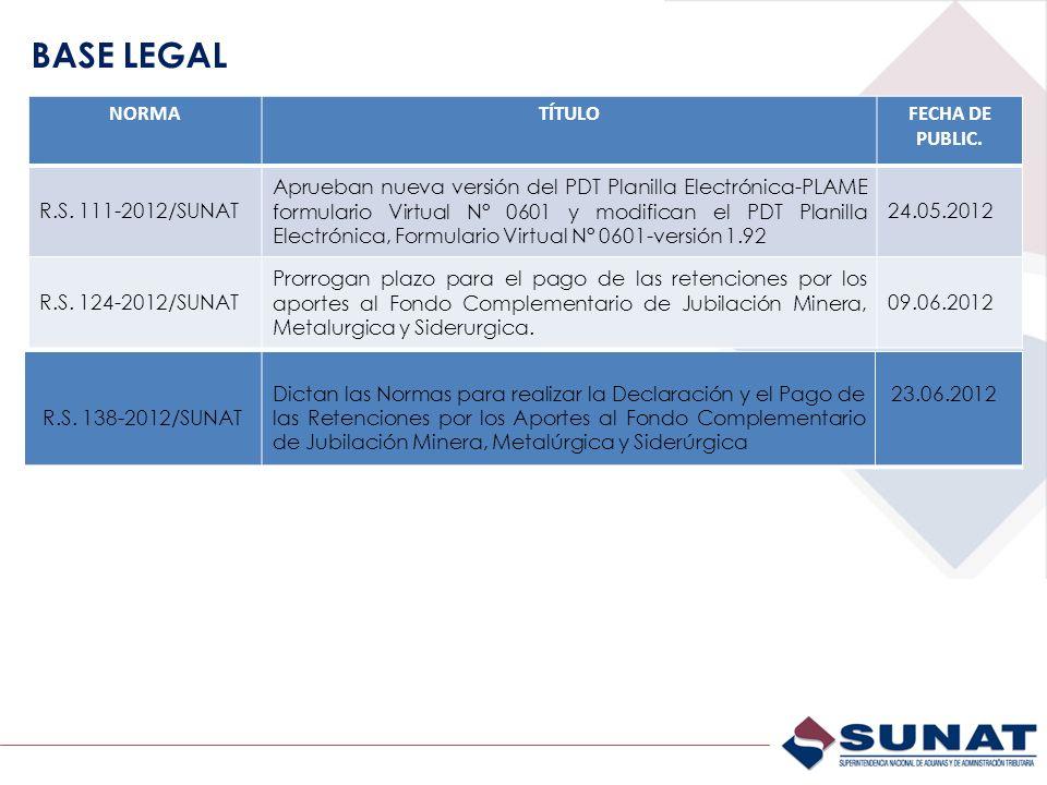 BASE LEGAL NORMATÍTULOFECHA DE PUBLIC. R.S. 111-2012/SUNAT Aprueban nueva versión del PDT Planilla Electrónica-PLAME formulario Virtual N° 0601 y modi
