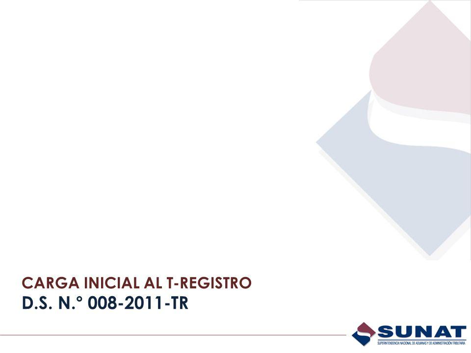 CARGA INICIAL AL T-REGISTRO D.S. N.° 008-2011-TR