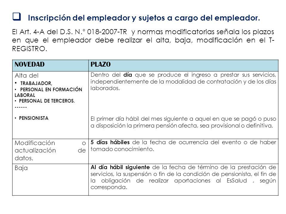 Inscripción del empleador y sujetos a cargo del empleador. El Art. 4-A del D.S. N.° 018-2007-TR y normas modificatorias señala los plazos en que el em