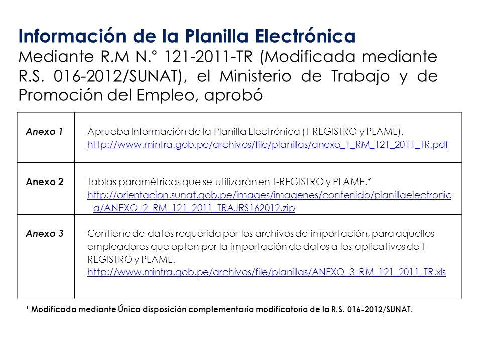 Anexo 1 Aprueba Información de la Planilla Electrónica (T-REGISTRO y PLAME). http://www.mintra.gob.pe/archivos/file/planillas/anexo_1_RM_121_2011_TR.p