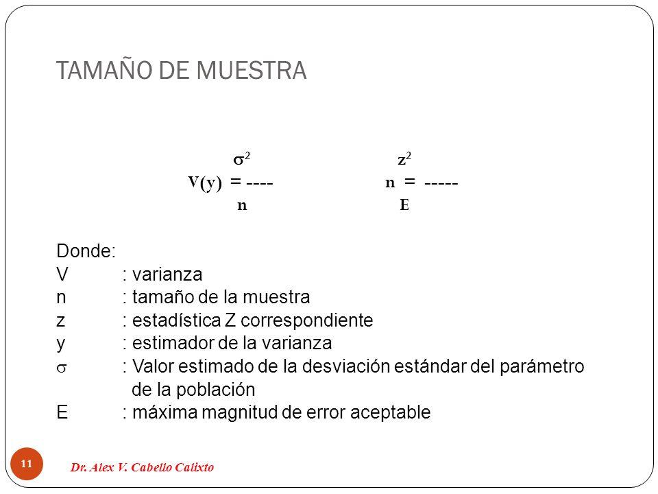 TAMAÑO DE MUESTRA Dr. Alex V. Cabello Calixto 11 2 z 2 V(y) = ----n = ----- n E Donde: V: varianza n: tamaño de la muestra z: estadística Z correspond