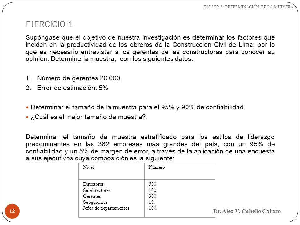 EJERCICIO 1 Dr. Alex V. Cabello Calixto 12 Supóngase que el objetivo de nuestra investigación es determinar los factores que inciden en la productivid