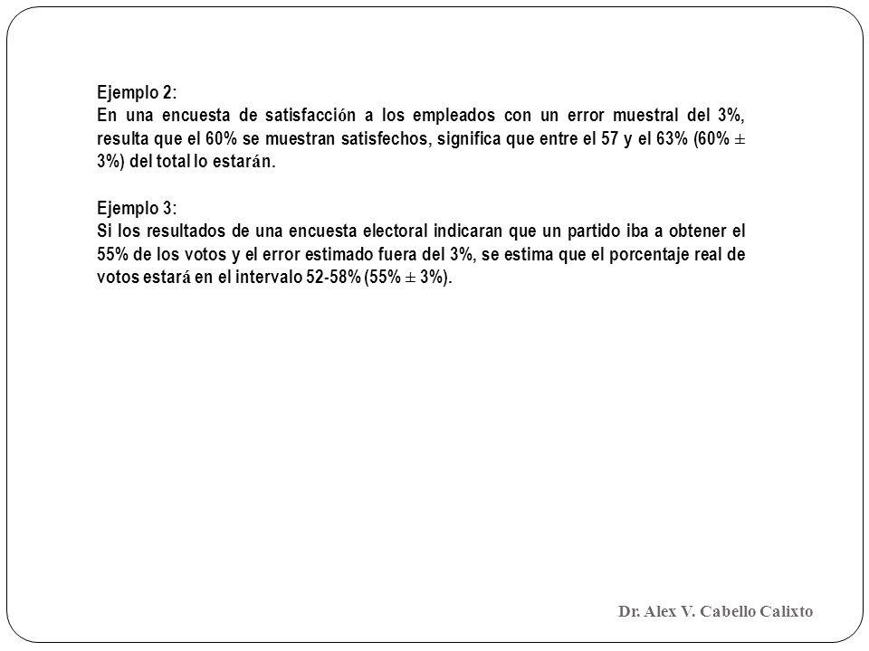Ejemplo 2: En una encuesta de satisfacci ó n a los empleados con un error muestral del 3%, resulta que el 60% se muestran satisfechos, significa que e