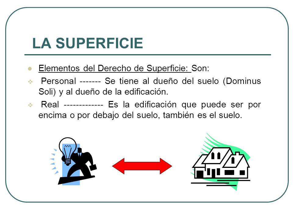 LA SUPERFICIE Elementos del Derecho de Superficie: Son: Personal ------- Se tiene al dueño del suelo (Dominus Soli) y al dueño de la edificación.