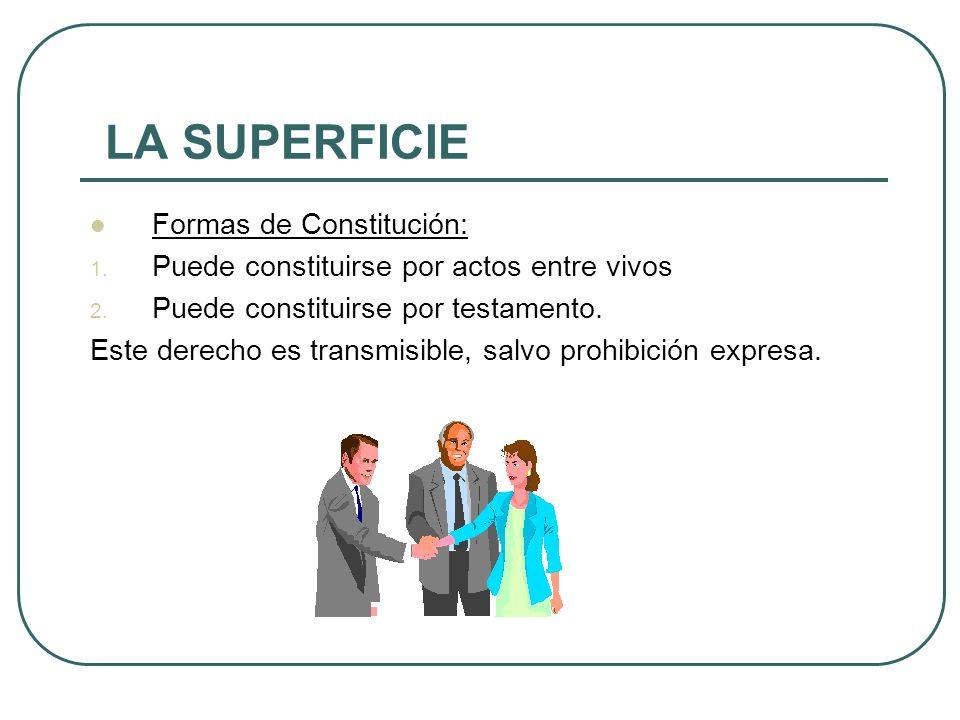 LA SUPERFICIE Formas de Constitución: 1.Puede constituirse por actos entre vivos 2.